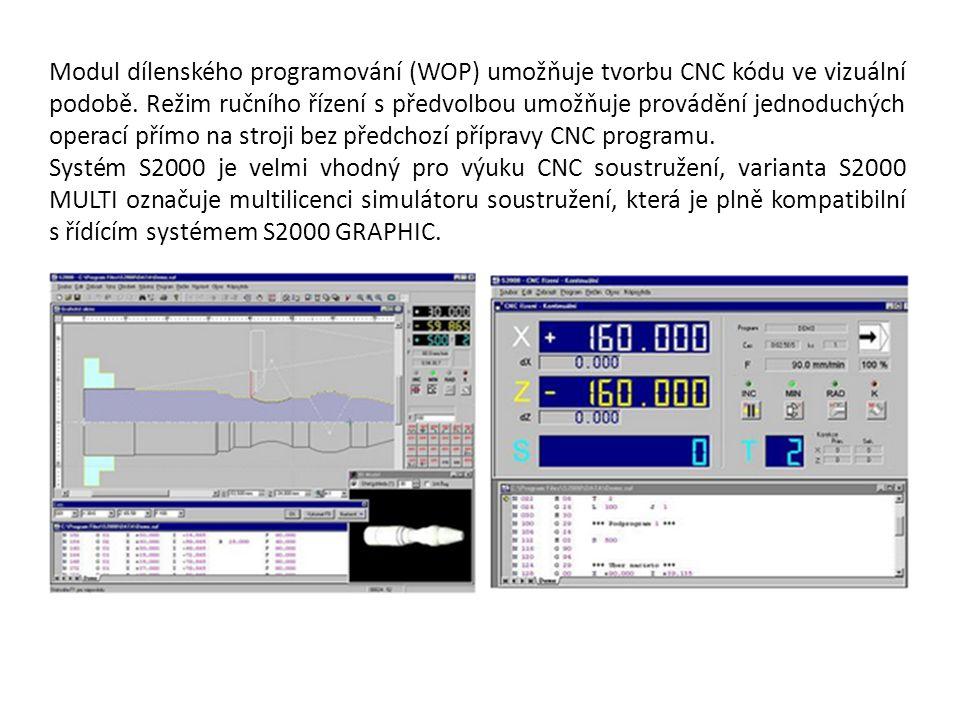 Modul dílenského programování (WOP) umožňuje tvorbu CNC kódu ve vizuální podobě. Režim ručního řízení s předvolbou umožňuje provádění jednoduchých ope