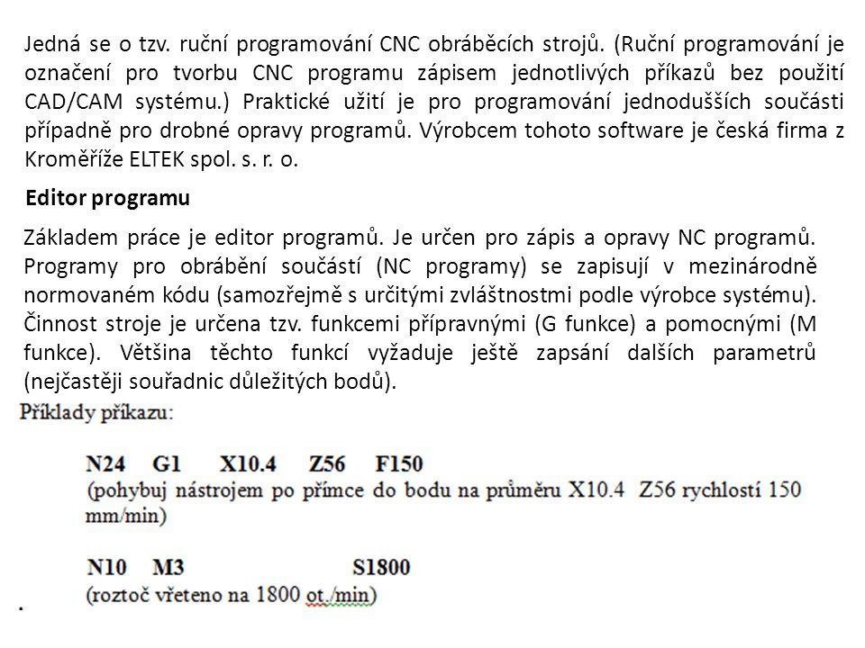 Jedná se o tzv. ruční programování CNC obráběcích strojů. (Ruční programování je označení pro tvorbu CNC programu zápisem jednotlivých příkazů bez pou