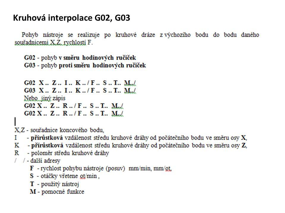 Kruhová interpolace G02, G03