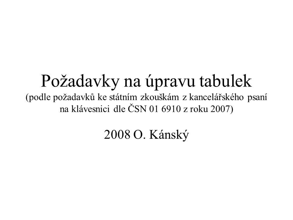 Požadavky na úpravu tabulek (podle požadavků ke státním zkouškám z kancelářského psaní na klávesnici dle ČSN 01 6910 z roku 2007) 2008 O. Kánský