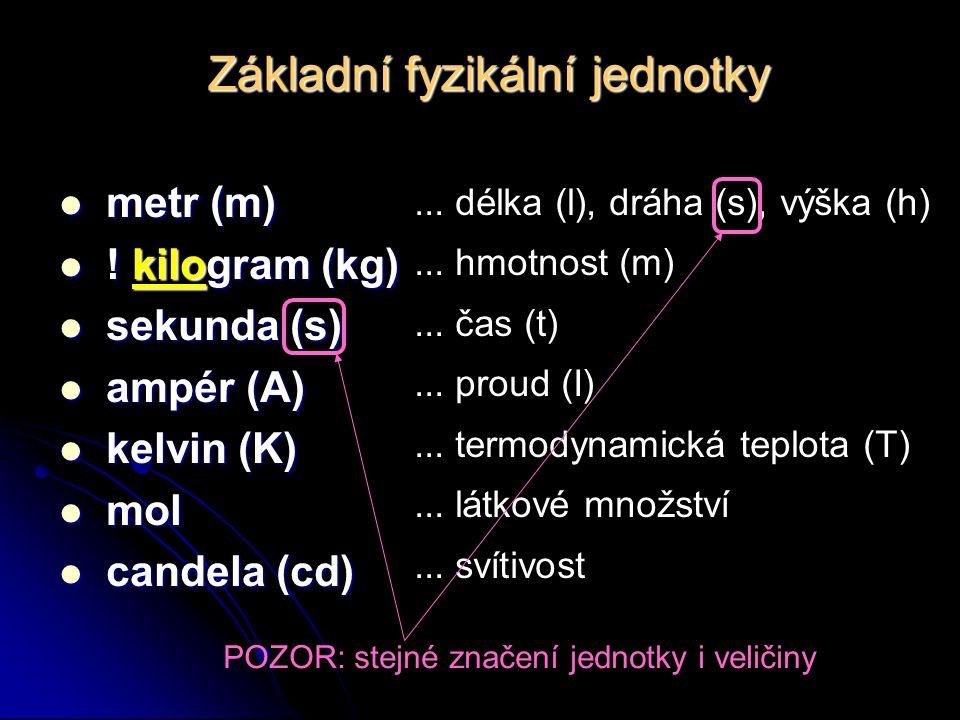 Základní fyzikální jednotky... délka (l), dráha (s), výška (h)... hmotnost (m)... čas (t)... proud (I)... termodynamická teplota (T)... látkové množst