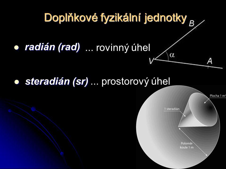 Doplňkové fyzikální jednotky radián (rad) radián (rad)... rovinný úhel steradián (sr) steradián (sr)... prostorový úhel