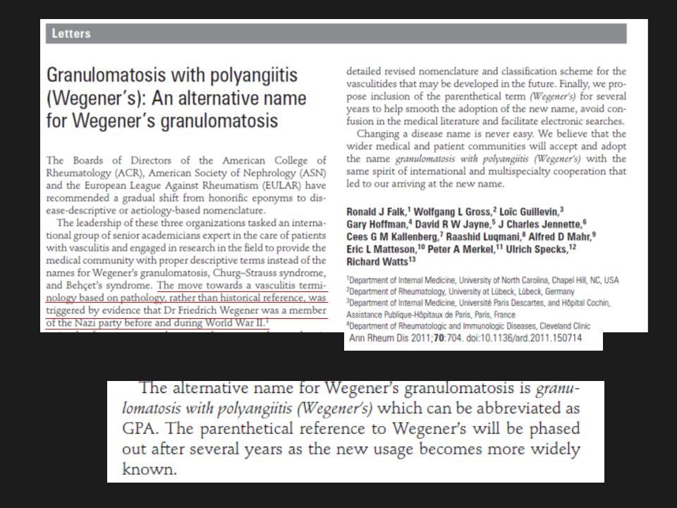 GPA 1)nekrotizující granulomatóza vedlejších dutin dolních dýchacích cest 2)systémová nekrotizujíc vakulitida cév menšího kalibru 3)glomerulonefritida fibrinoidní nekróza, lymfocytární infiltrace, granulomatoza protilátky c-ANCA proti proteináze 3