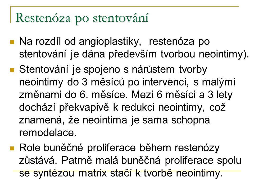 Restenóza po stentování Na rozdíl od angioplastiky, restenóza po stentování je dána především tvorbou neointimy). Stentování je spojeno s nárůstem tvo