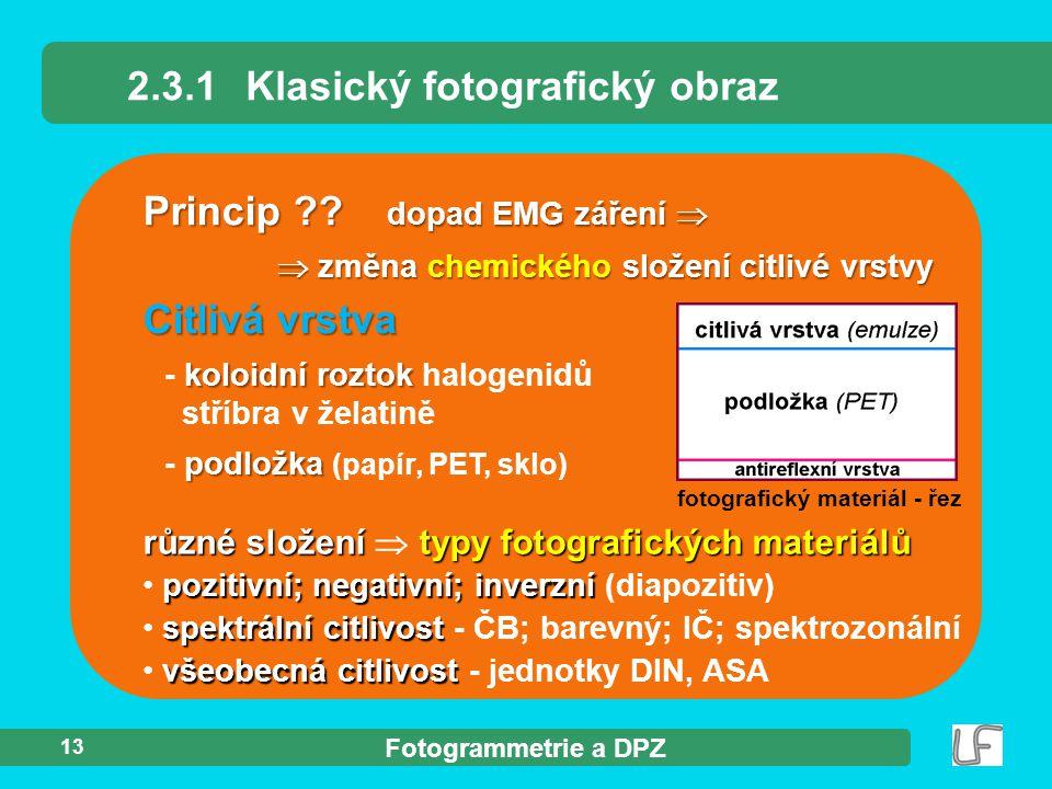 Fotogrammetrie a DPZ 13 Princip ?? 2.3.1Klasický fotografický obraz různé složení typy fotografických materiálů různé složení  typy fotografických ma