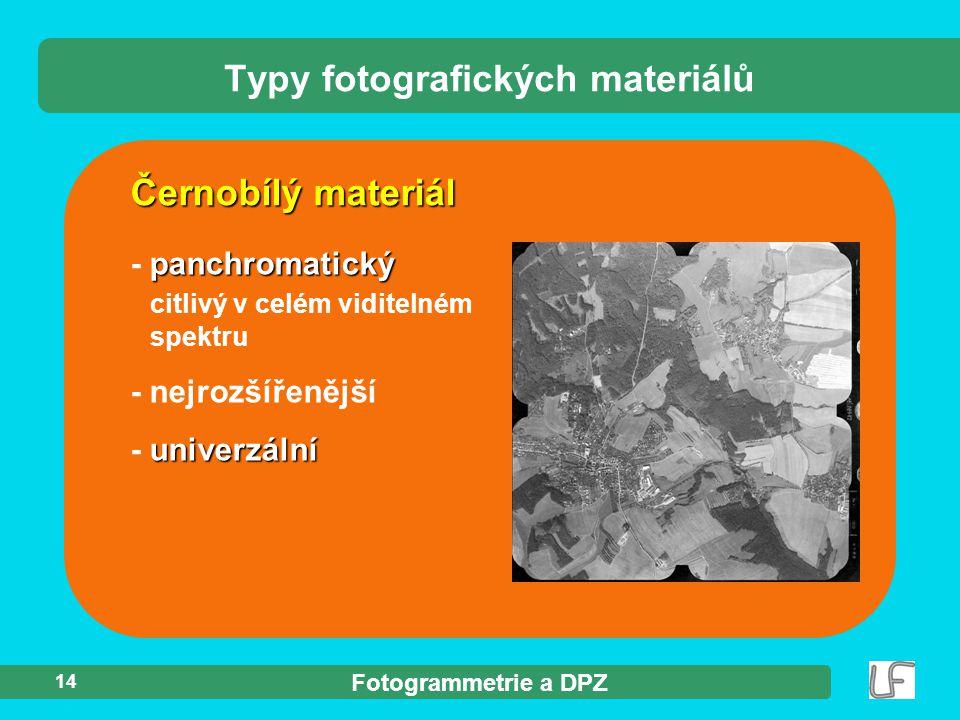 Fotogrammetrie a DPZ 14 Černobílý materiál Typy fotografických materiálů panchromatický - panchromatický citlivý v celém viditelném spektru - nejrozší