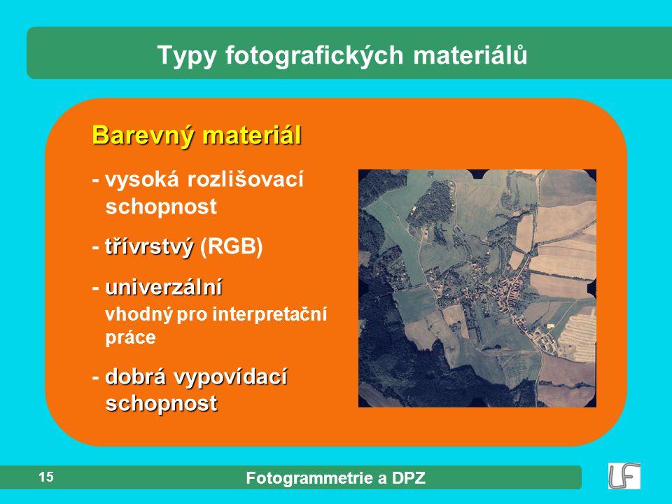 Fotogrammetrie a DPZ 15 Barevný materiál Typy fotografických materiálů - vysoká rozlišovací schopnost třívrstvý - třívrstvý (RGB) univerzální - univer