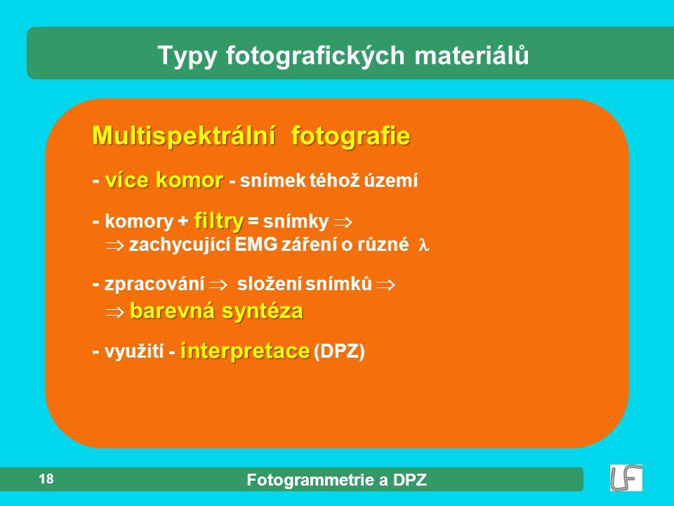 Fotogrammetrie a DPZ 18 Multispektrální fotografie Typy fotografických materiálů více komor - více komor - snímek téhož území filtry - komory + filtry