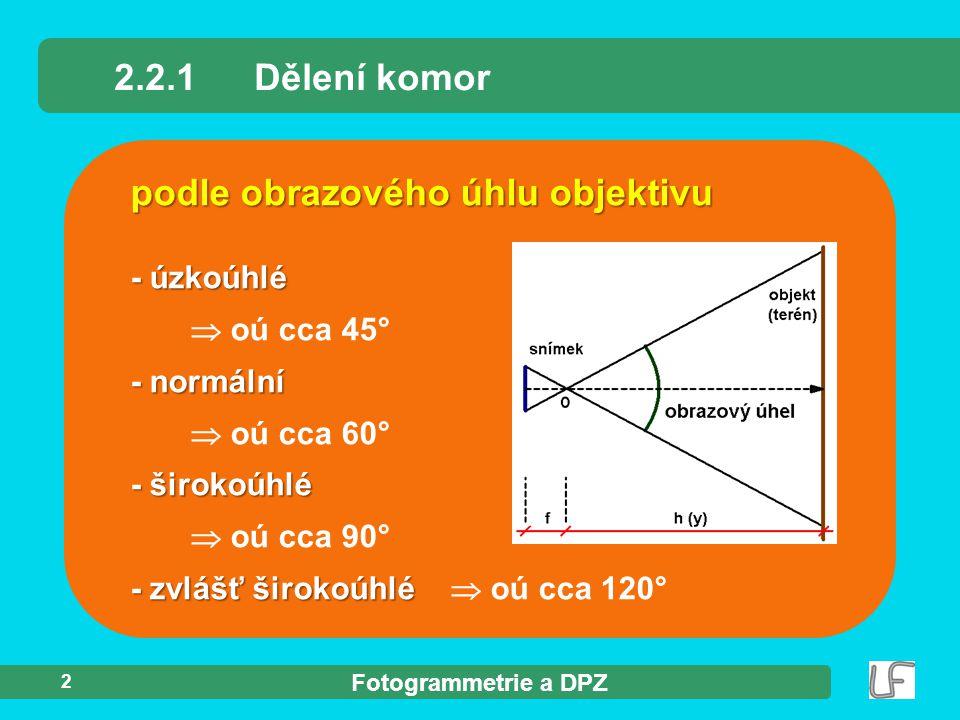 Fotogrammetrie a DPZ 2 podle obrazového úhlu objektivu 2.2.1Dělení komor - úzkoúhlé  oú cca 45° - normální  oú cca 60° - širokoúhlé  oú cca 90° - z