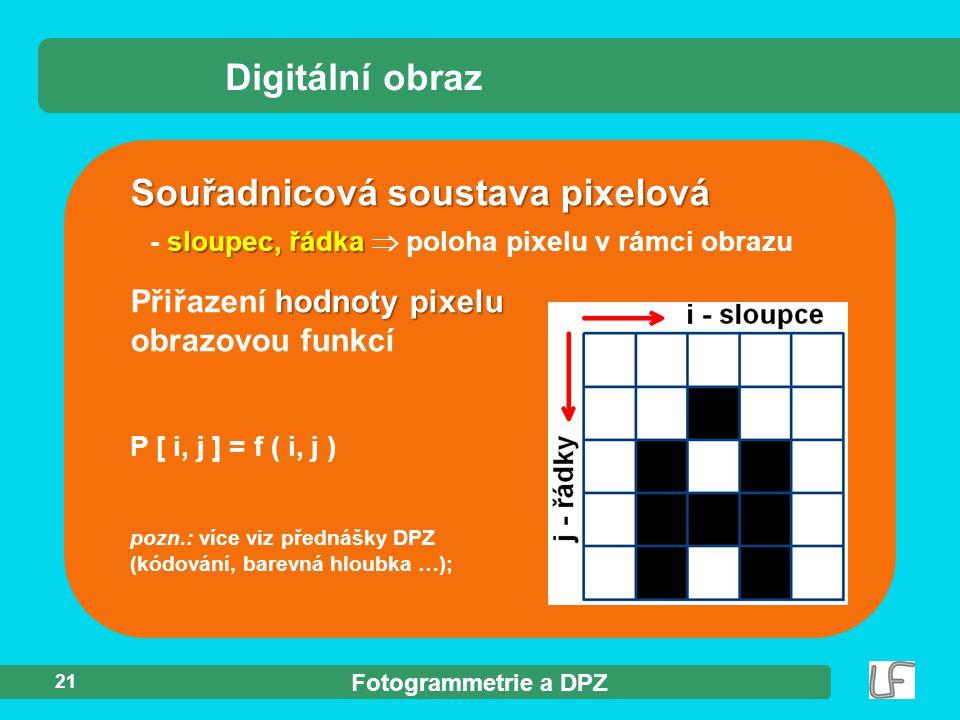Fotogrammetrie a DPZ 21 hodnoty pixelu Přiřazení hodnoty pixelu obrazovou funkcí P [ i, j ] = f ( i, j ) pozn.: více viz přednášky DPZ (kódování, bare