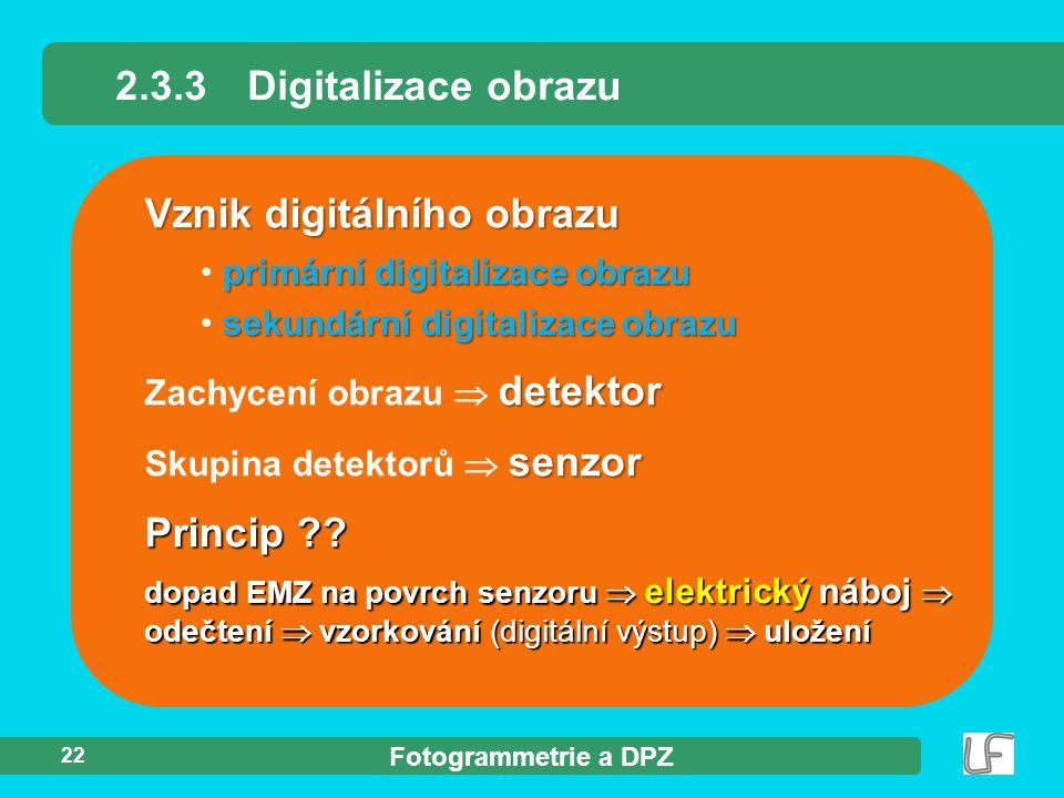 Fotogrammetrie a DPZ 22 detektor Zachycení obrazu  detektor 2.3.3Digitalizace obrazu Vznik digitálního obrazu senzor Skupina detektorů  senzor Princ