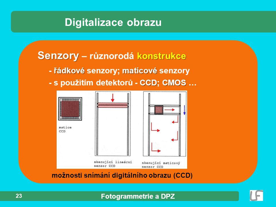 Fotogrammetrie a DPZ 23 Digitalizace obrazu Senzory konstrukce Senzory – různorodá konstrukce řádkovématicové - řádkové senzory; maticové senzory CCDC