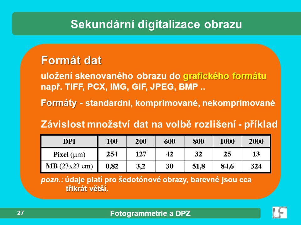 Fotogrammetrie a DPZ 27 Sekundární digitalizace obrazu Formát dat grafického formátu uložení skenovaného obrazu do grafického formátu např. TIFF, PCX,