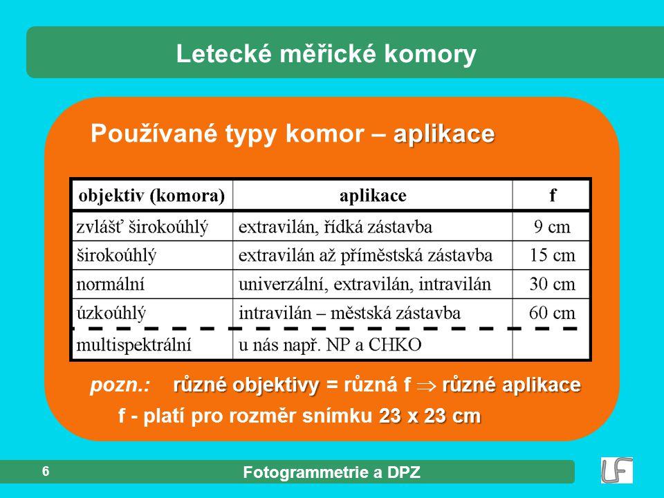 Fotogrammetrie a DPZ 6 aplikace Používané typy komor – aplikace Letecké měřické komory různé objektivy různé aplikace pozn.: různé objektivy = různá f
