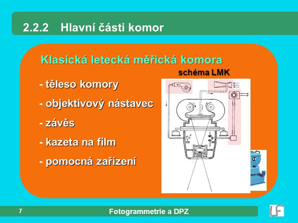 Fotogrammetrie a DPZ 18 Multispektrální fotografie Typy fotografických materiálů více komor - více komor - snímek téhož území filtry - komory + filtry = snímky   zachycující EMG záření o různé barevná syntéza - zpracování  složení snímků   barevná syntéza interpretace - využití - interpretace (DPZ)
