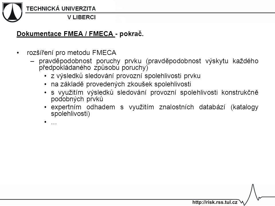 rozšíření pro metodu FMECA –pravděpodobnost poruchy prvku (pravděpodobnost výskytu každého předpokládaného způsobu poruchy) z výsledků sledování provozní spolehlivosti prvku na základě provedených zkoušek spolehlivosti s využitím výsledků sledování provozní spolehlivosti konstrukčně podobných prvků expertním odhadem s využitím znalostních databází (katalogy spolehlivosti)...