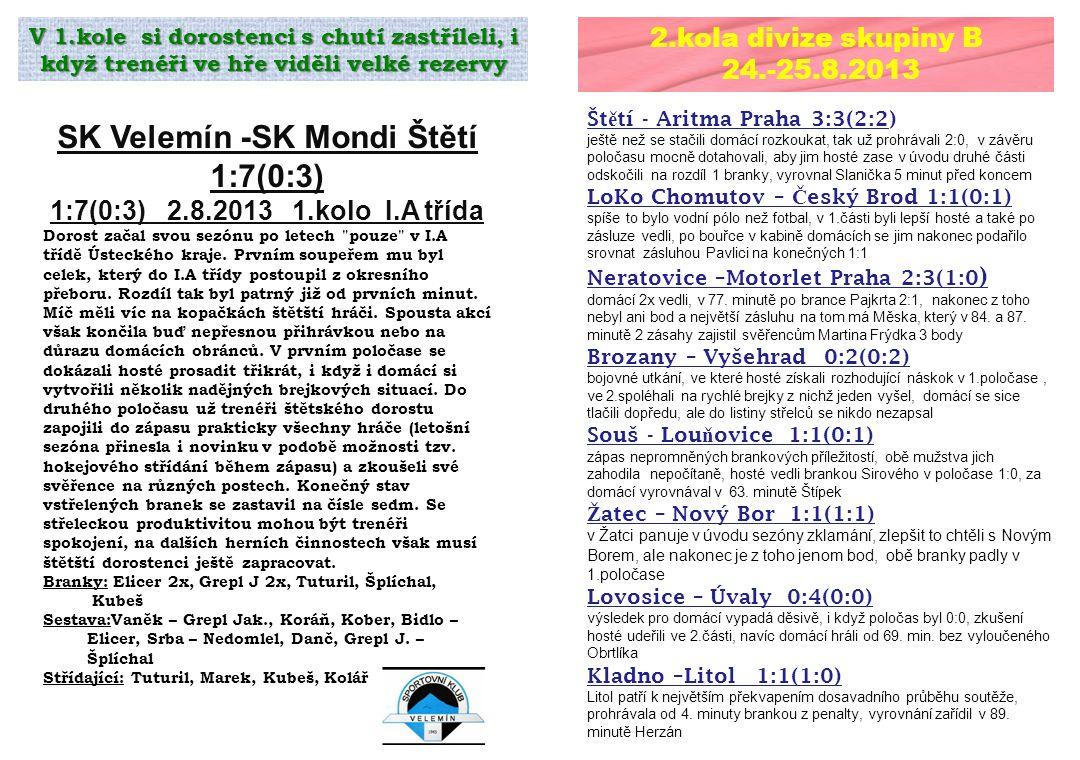 2.kola divize skupiny B 24.-25.8.2013 Št ě tí - Aritma Praha 3:3(2:2) ještě než se stačili domácí rozkoukat, tak už prohrávali 2:0, v závěru poločasu mocně dotahovali, aby jim hosté zase v úvodu druhé části odskočili na rozdíl 1 branky, vyrovnal Slanička 5 minut před koncem LoKo Chomutov – Č eský Brod 1:1(0:1) spíše to bylo vodní pólo než fotbal, v 1.části byli lepší hosté a také po zásluze vedli, po bouřce v kabině domácích se jim nakonec podařilo srovnat zásluhou Pavlici na konečných 1:1 Neratovice –Motorlet Praha 2:3(1:0 ) domácí 2x vedli, v 77.