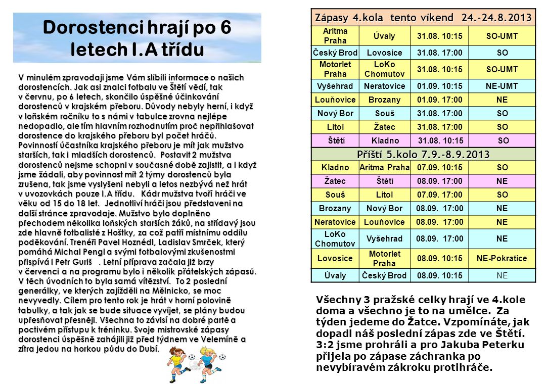 Zápasy 4.kola tento víkend 24.-24.8.2013 Aritma Praha Úvaly31.08. 10:15SO-UMT Český BrodLovosice31.08. 17:00SO Motorlet Praha LoKo Chomutov 31.08. 10:
