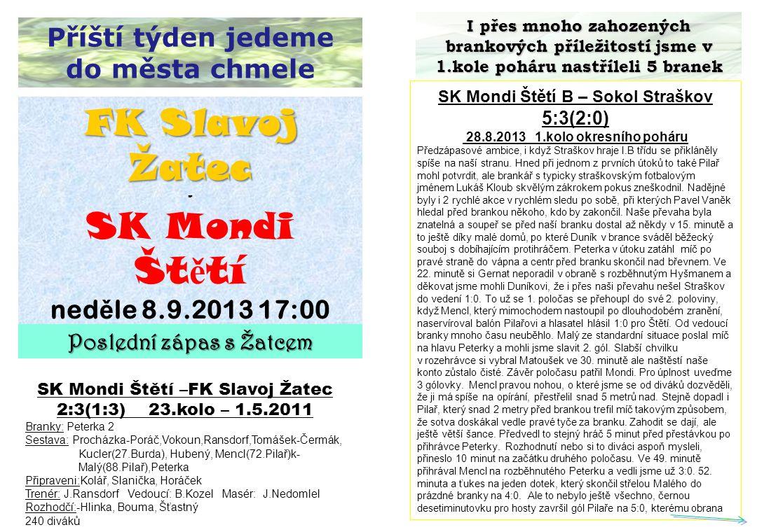 Příští týden jedeme do města chmele I přes mnoho zahozených brankových příležitostí jsme v 1.kole poháru nastříleli 5 branek SK Mondi Štětí B – Sokol
