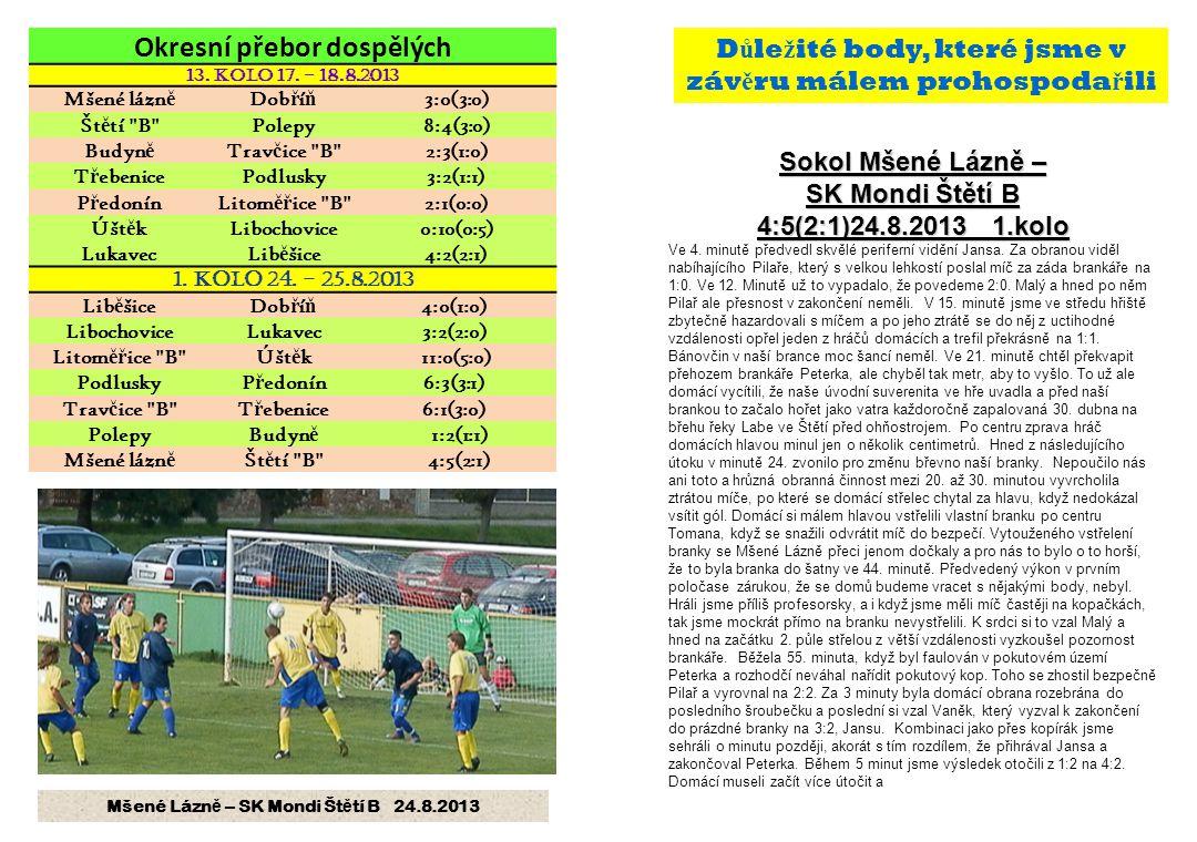 Sokol Mšené Lázně – SK Mondi Štětí B 4:5(2:1)24.8.2013 1.kolo Ve 4.