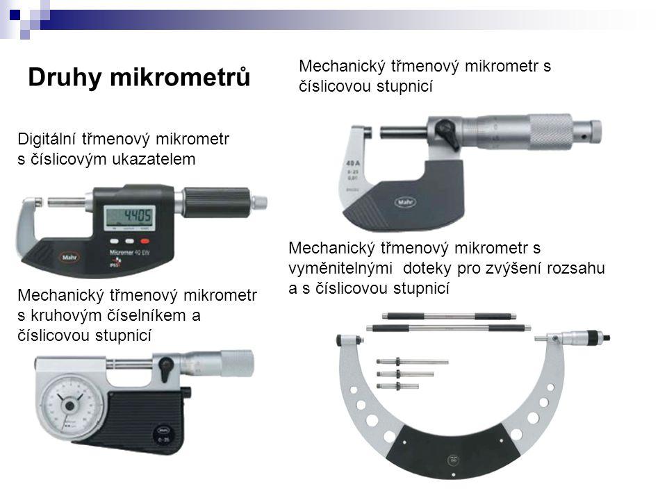 Třmenový mikrometr 40 AB s osazenými měřicími plochami Třmenový mikrometr 40 AS s posuvným vřetenem a měřicími břity Třmenový mikrometr 40 AW s posuvným vřetenem a talířkovými měřicími doteky Závitový mikrometr 40 Z A další druhy měřidel pracujících ma principu mikrometrického šroubu