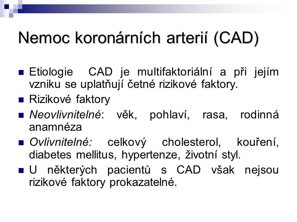 Nemoc koronárních arterií (CAD) Etiologie CAD je multifaktoriální a při jejím vzniku se uplatňují četné rizikové faktory. Rizikové faktory Neovlivnite
