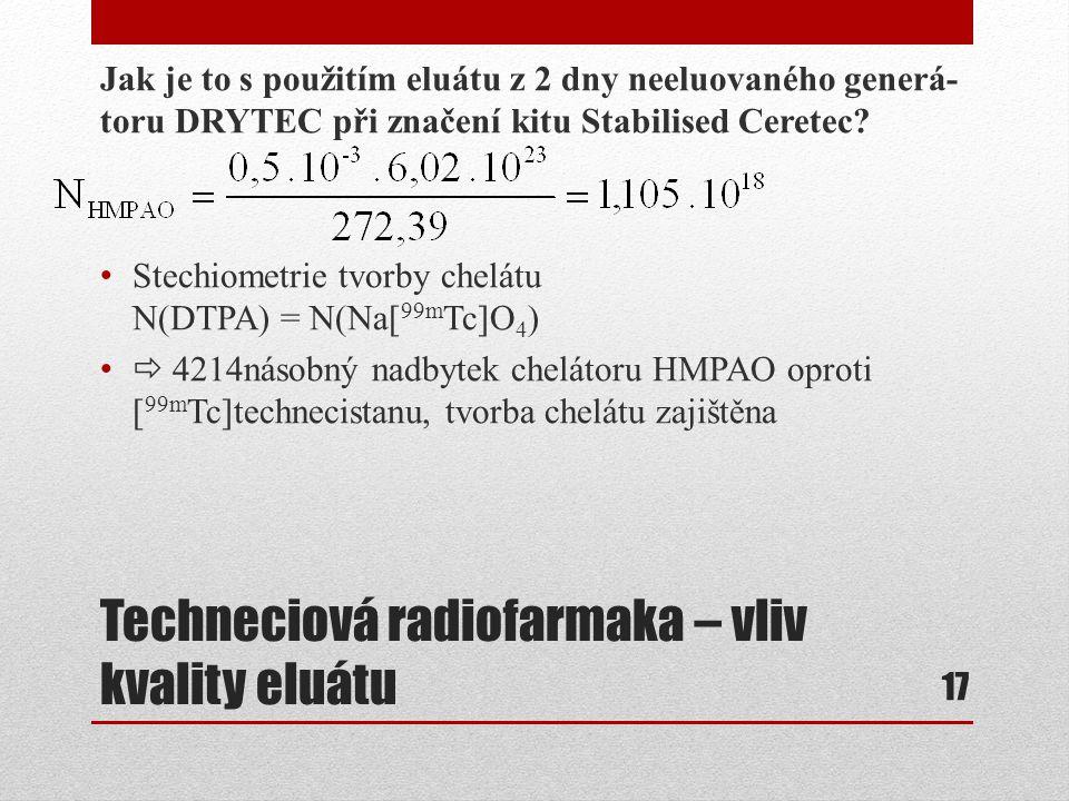 Techneciová radiofarmaka – vliv kvality eluátu Jak je to s použitím eluátu z 2 dny neeluovaného generá- toru DRYTEC při značení kitu Stabilised Cerete