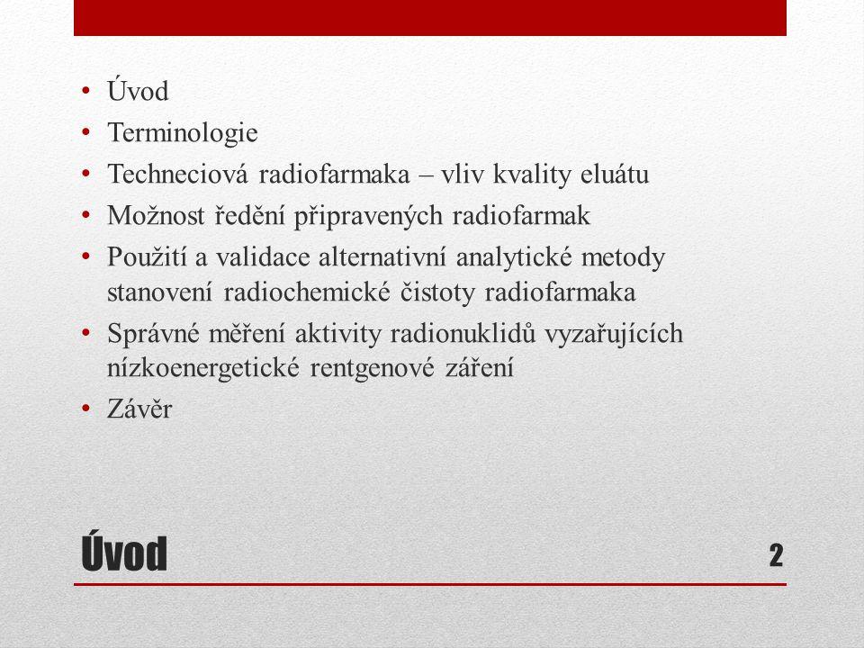 Úvod Terminologie Techneciová radiofarmaka – vliv kvality eluátu Možnost ředění připravených radiofarmak Použití a validace alternativní analytické me