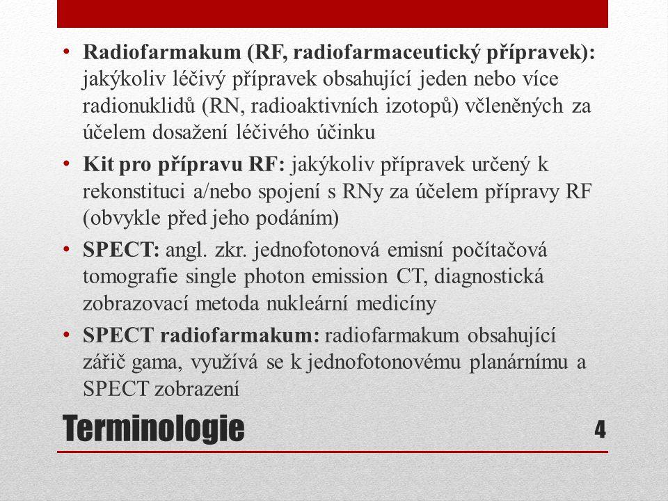 Terminologie Radiofarmakum (RF, radiofarmaceutický přípravek): jakýkoliv léčivý přípravek obsahující jeden nebo více radionuklidů (RN, radioaktivních