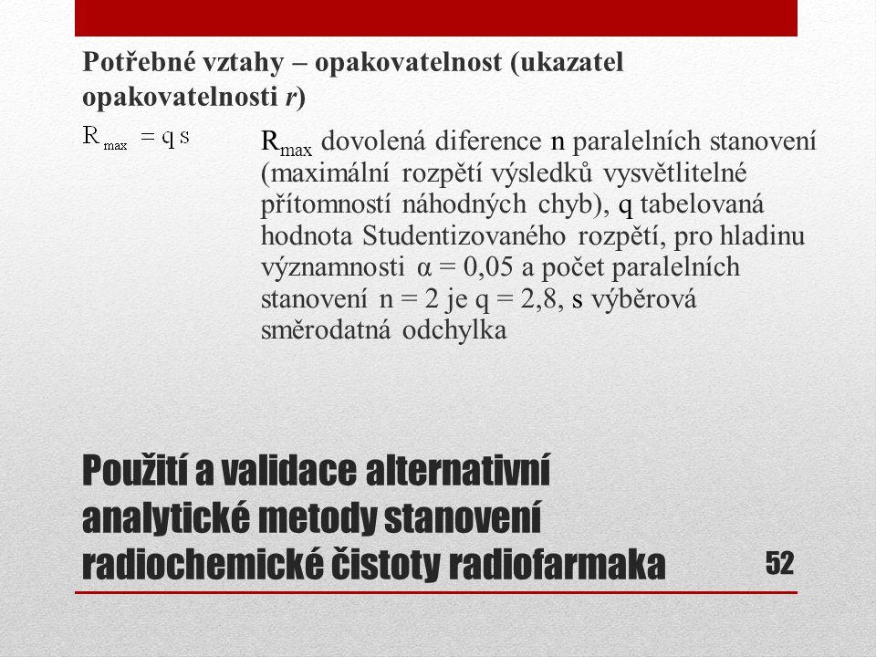 Použití a validace alternativní analytické metody stanovení radiochemické čistoty radiofarmaka Potřebné vztahy – opakovatelnost (ukazatel opakovatelno