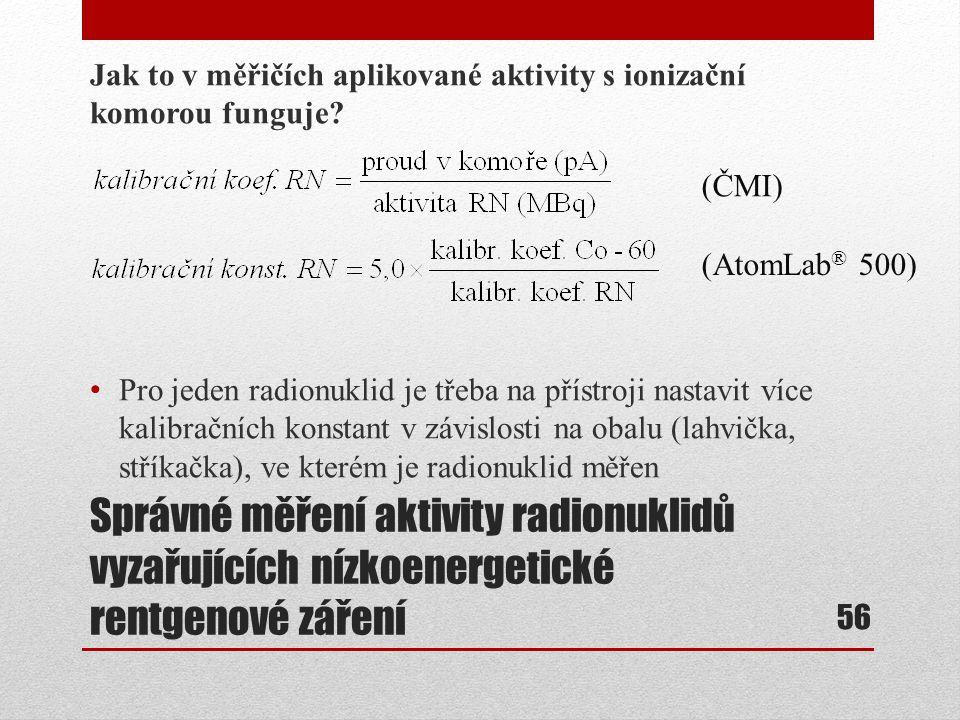Správné měření aktivity radionuklidů vyzařujících nízkoenergetické rentgenové záření Jak to v měřičích aplikované aktivity s ionizační komorou funguje