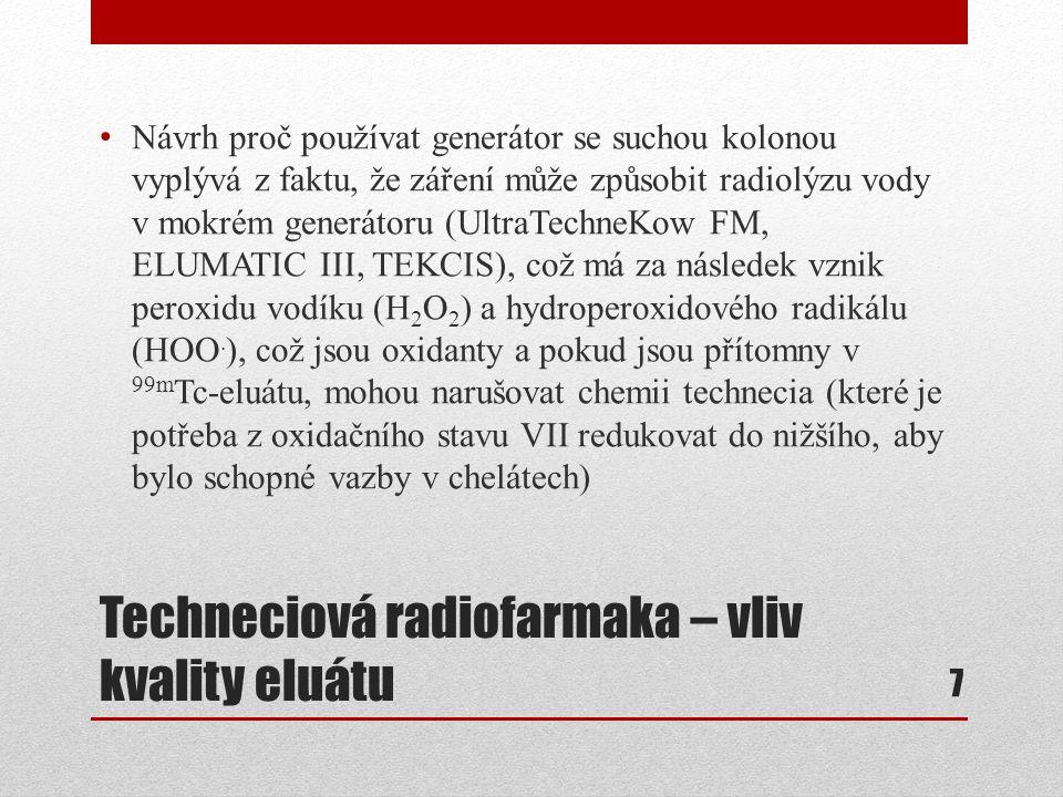 Techneciová radiofarmaka – vliv kvality eluátu Návrh proč používat generátor se suchou kolonou vyplývá z faktu, že záření může způsobit radiolýzu vody