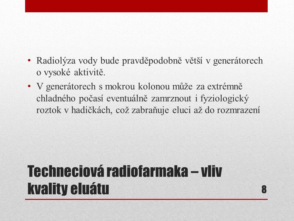 Techneciová radiofarmaka – vliv kvality eluátu Radiolýza vody bude pravděpodobně větší v generátorech o vysoké aktivitě. V generátorech s mokrou kolon