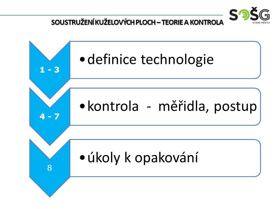 1 - 3 definice technologie 4 - 7 kontrola - měřidla, postup 8 úkoly k opakování