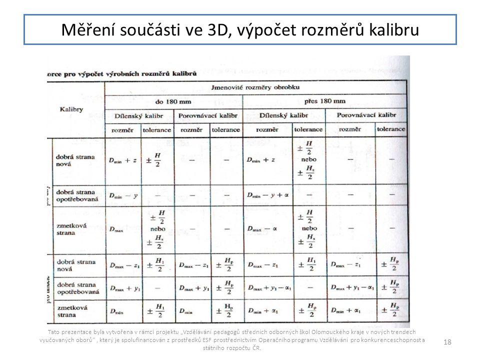 """Měření součásti ve 3D, výpočet rozměrů kalibru Tato prezentace byla vytvořena v rámci projektu """"Vzdělávání pedagogů středních odborných škol Olomoucké"""