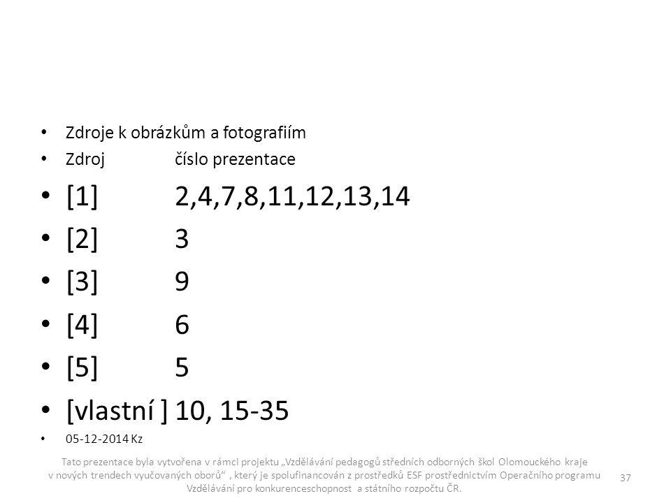 Zdroje k obrázkům a fotografiím Zdrojčíslo prezentace [1]2,4,7,8,11,12,13,14 [2]3 [3]9 [4]6 [5]5 [vlastní ]10, 15-35 05-12-2014 Kz Tato prezentace byl