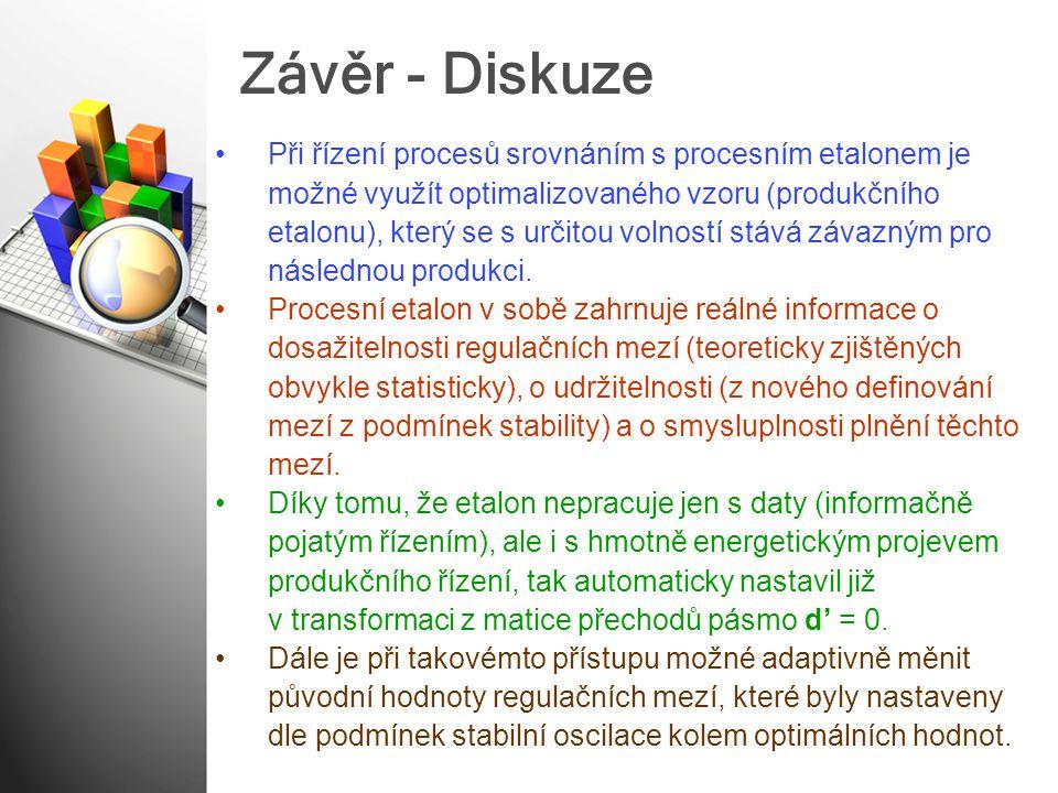 Závěr - Diskuze Při řízení procesů srovnáním s procesním etalonem je možné využít optimalizovaného vzoru (produkčního etalonu), který se s určitou vol