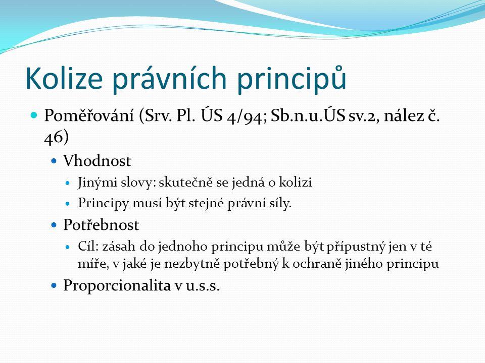 Kolize právních principů Poměřování (Srv. Pl. ÚS 4/94; Sb.n.u.ÚS sv.2, nález č. 46) Vhodnost Jinými slovy: skutečně se jedná o kolizi Principy musí bý