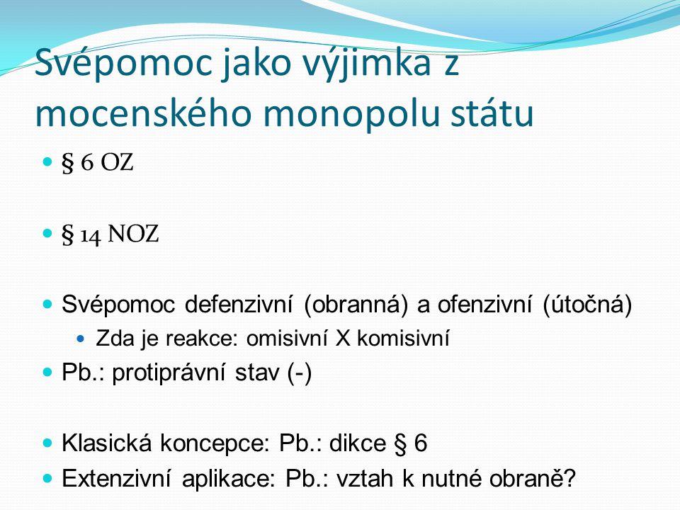 Svépomoc jako výjimka z mocenského monopolu státu § 6 OZ § 14 NOZ Svépomoc defenzivní (obranná) a ofenzivní (útočná) Zda je reakce: omisivní X komisiv