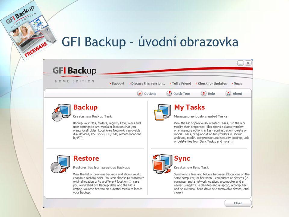 GFI Backup – úvodní obrazovka