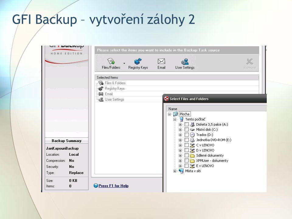 GFI Backup – vytvoření zálohy 2