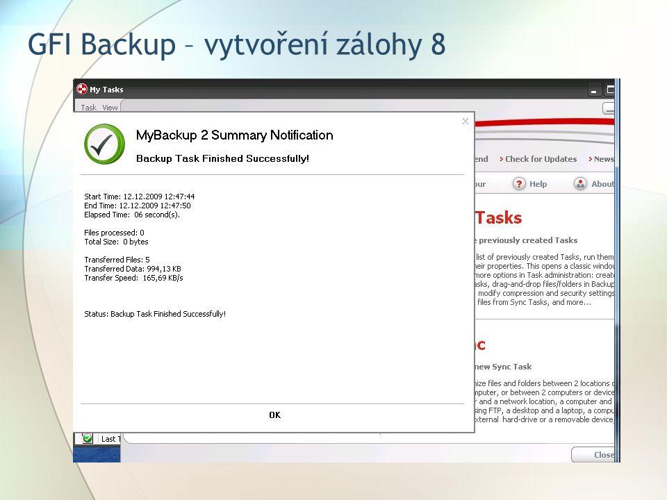 GFI Backup – vytvoření zálohy 8