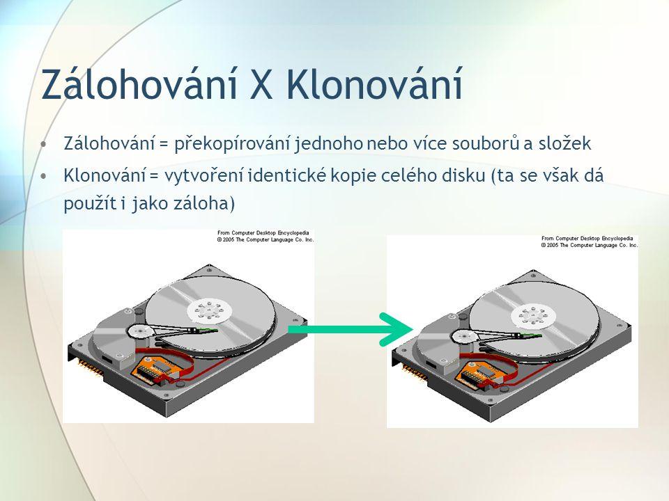 Typy záloh Nestrukturovaná – diskety, CD, DVD, pásky na jedné hromadě bez větších informací o tom, kde co je Úplná + inkrementální – nejprve záloha všech dat, pak se zálohují jen soubory, které se změnily od předešlé úplné nebo inkrementální zálohy Úplná + rozdílová – zálohuje soubory, které se změnily od vytvoření úplné zálohy, i když jsou soubory obsaženy už v předešlé částečné záloze Průběžná ochrana dat – okamžitý zápis změny do žurnálu (logu), umožňuje získat obraz dat tak, jak existovaly v minulosti.