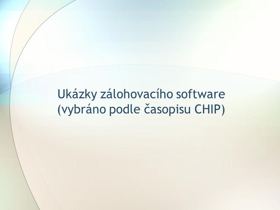 Ukázky zálohovacího software (vybráno podle časopisu CHIP)