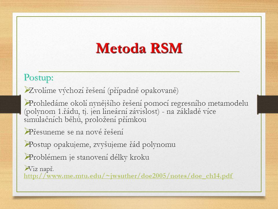 Metoda RSM Postup:  Zvolíme výchozí řešení (případně opakovaně)  Prohledáme okolí nynějšího řešení pomocí regresního metamodelu (polynom 1.řádu, tj.