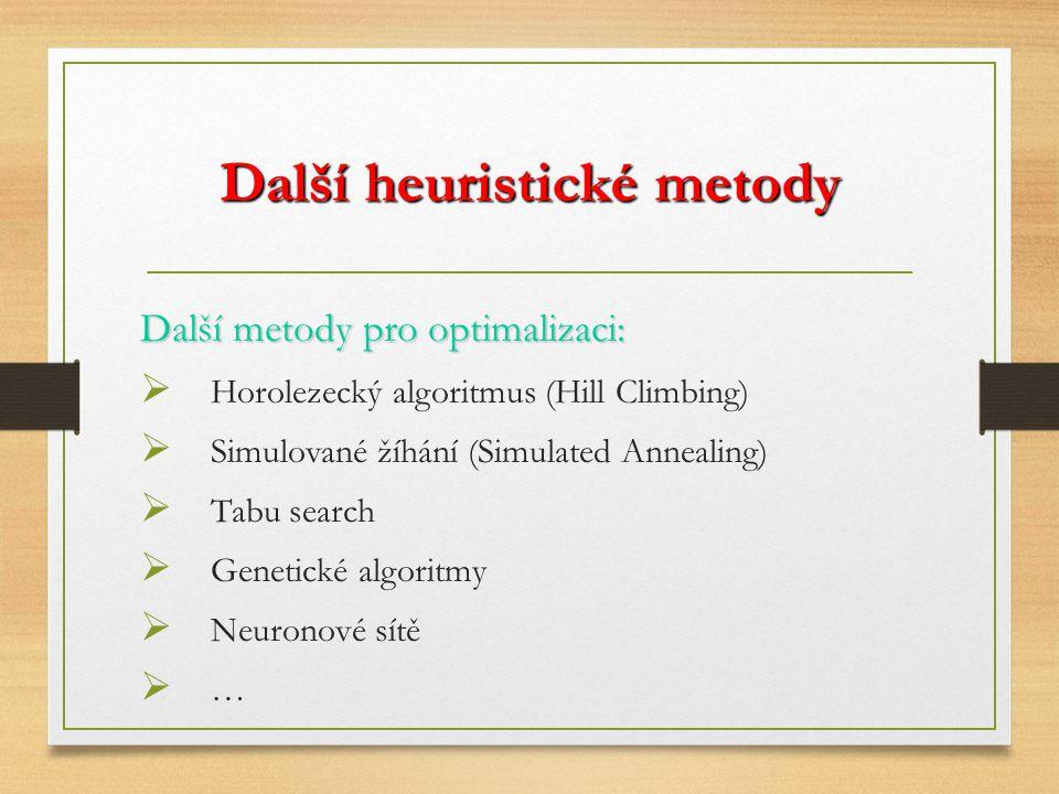 Další heuristické metody Další metody pro optimalizaci:  Horolezecký algoritmus (Hill Climbing)  Simulované žíhání (Simulated Annealing)  Tabu search  Genetické algoritmy  Neuronové sítě ……