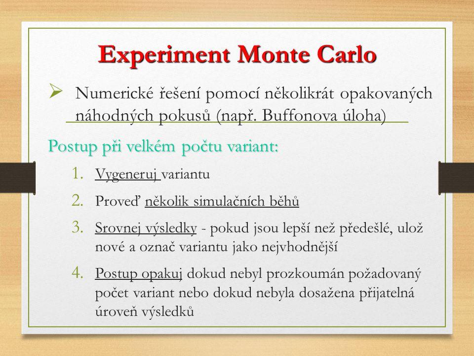 Experiment Monte Carlo  Numerické řešení pomocí několikrát opakovaných náhodných pokusů (např. Buffonova úloha) Postup při velkém počtu variant: 1. V