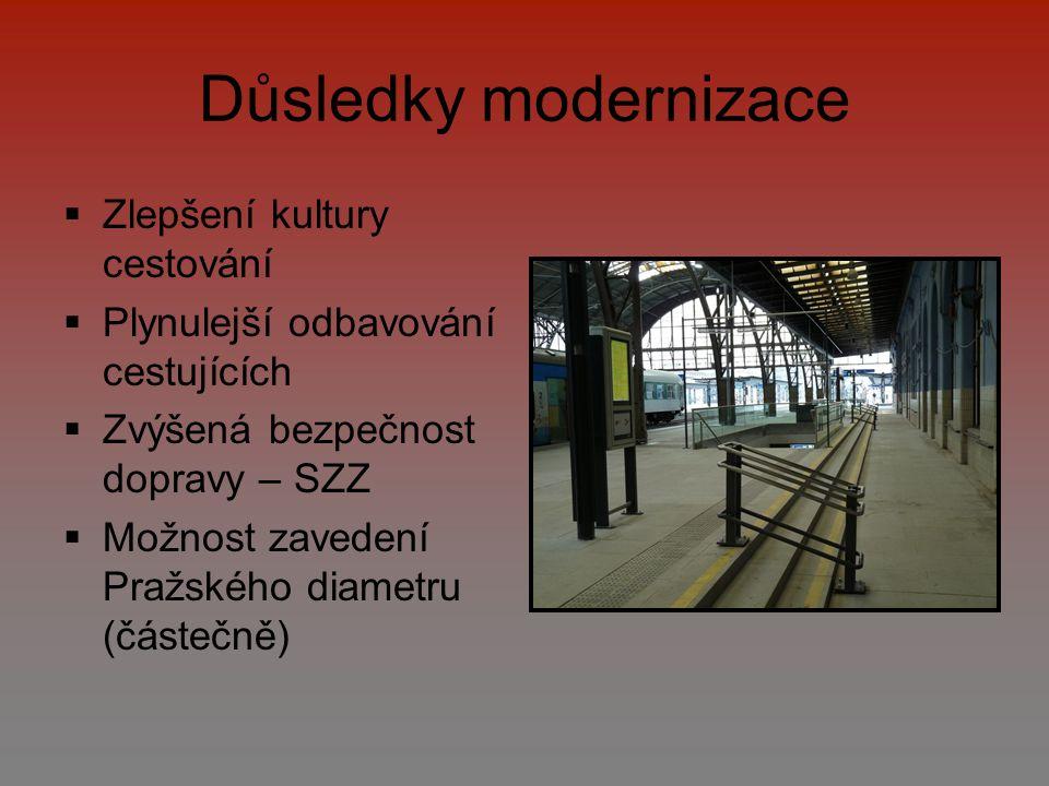 Důsledky modernizace  Zlepšení kultury cestování  Plynulejší odbavování cestujících  Zvýšená bezpečnost dopravy – SZZ  Možnost zavedení Pražského