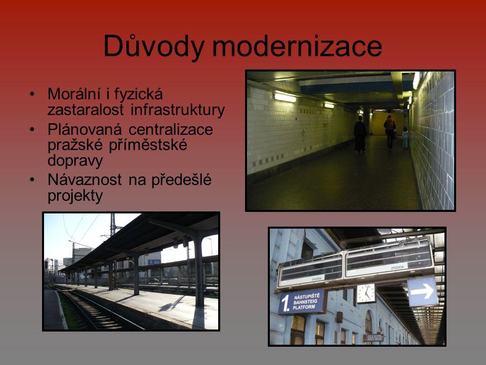 Důvody modernizace Morální i fyzická zastaralost infrastruktury Plánovaná centralizace pražské příměstské dopravy Návaznost na předešlé projekty
