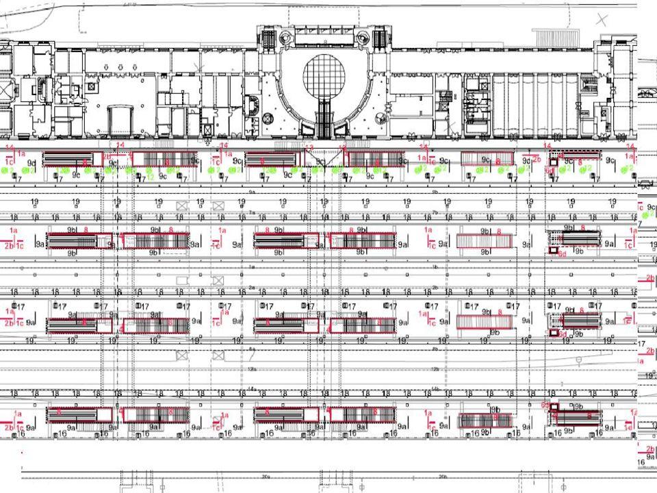 Nástupiště Nově zbudována 3 ostrovní a 1 boční Výška 550mm nad TK a vzdálenost hrany od osy koleje 1680mm, délka 400m Nové informační a osvětlovací systémy Prvky pro nevidomé Drobné pozemní objekty – lavičky, koše